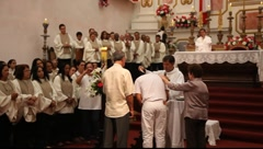 Baptism during Mass of Corpus Christi in Paraty, Brazil, FULL HD 1080P - stock footage