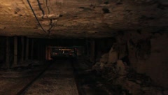 Coal Mine Equipment in Use Underground (HD) c Stock Footage