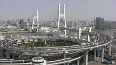 Exceptional view of Nanpu brigde, Shanghai China Stock Footage