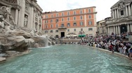 Stock Video Footage of Rome Trevi Fountain tourists P HD 0539