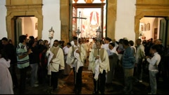 Mass and Procession of Corpus Christi in Paraty, Brazil, FULL HD 1080P Stock Footage