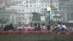 Shanghai lifestyle rich wealthy Bund river people relax drinking Stock Footage