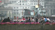 Stock Video Footage of Shanghai, lifestyle, rich, wealthy, Bund, river, people, relax, drinking