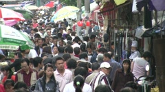 Crowds at Chinese shopping street Stock Footage