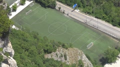 Aerial view of a rural stadium Stock Footage