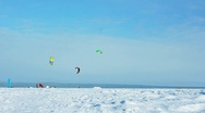 Stock Video Footage of Snow-kiting on a frozen lake