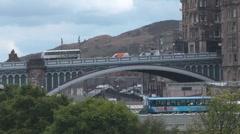 Traffic Stopped On Edinburgh North Bridge Scotland UK Stock Footage