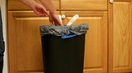 Stock Video Footage of Taking out Trash Bag from Kitchen garbage can