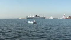 A boat and ship at Tuzla Marina bay Turkey Stock Footage