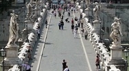 Stock Video Footage of Rome Bridge of Angels statues P HD 8866