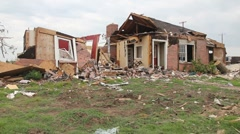 Tornado damaged house - stock footage