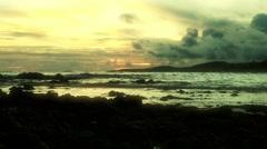 Beach Sunset at Poipu Beach on the island of Kauai, Hawaii Stock Footage