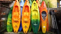 Colorful sea Kayaks Stock Footage