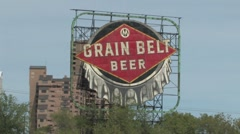 Grain Belt Billboard - stock footage