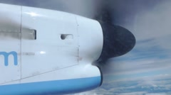 Close Up Propellor Of A Passenger Turbo Prop Aircraft In Flight Stock Footage