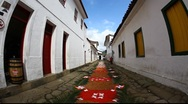Stock Video Footage of Tapestry of Corpus Christi in Paraty, Brazil, FULL HD 1080P