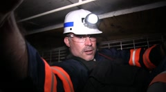Stock Video Footage of Coal Mine Employees on Mine Equipment (HD) c