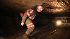 Coal Mine Employee With Mine Equipment (HD) c Stock Footage
