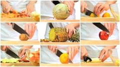 Montage of Fresh Fruit Preparation Stock Footage
