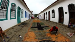 Making of the Tapestry of Corpus Christi in Paraty, Brazil, FULL HD 1080P - stock footage