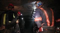 Coal Mine Employees Working in Mine  (HD) c Stock Footage
