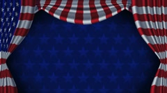 USA Flag Curtain Background Animation Loop With Alpha Stock Footage
