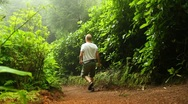 Walking to the Canary lake, Azores Stock Footage