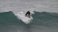 Surfer at Ribeira Quente Stock Footage