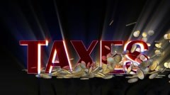Euro coins falling and being hit by shiny word Taxes, Alpha Stock Footage