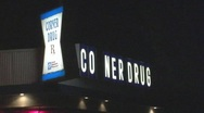 Stock Video Footage of Corner Drugstore or Pharmacy at Night 2