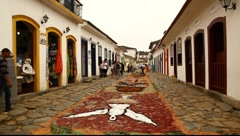 Tapestry of Corpus Christi in Paraty, Brazil, FULL HD 1080P Stock Footage