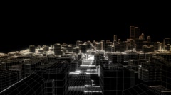 Flying in the sketched city, edges glow Stock Footage