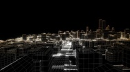 Stock Video Footage of Flying in the sketched city, edges glow