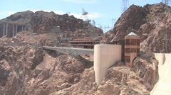 Hoover Dam Pylons and Car Park Stock Footage