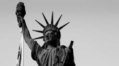 "Stock Footage-Statue of Liberty with American Flag - ""Black and White""  Stock Footage"