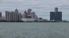 Detroit River and skyline - stock footage