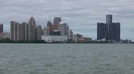 Stock Video Footage of Detroit River and skyline