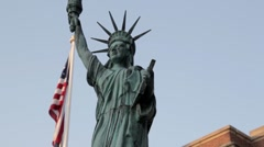 Stock Footage- Statue of Liberty - With American Flag Stock Footage