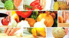 Montage of Fresh Fruit & Vegeatable Preparation Stock Footage