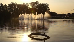 Fountains and birds during sunset FULL HD 1080P Stock Footage