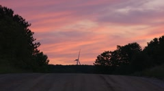 Wind Turbine at End of Road Stock Footage