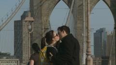 Lovers on Brooklyn Bridge Stock Footage