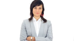 Attractive serious businesswoman with crossed hands portrait, isolated HD Stock Footage