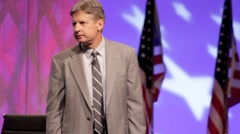 """Presidential Candidate Gary Johnson - """"Lybia"""" Speech Stock Footage"""