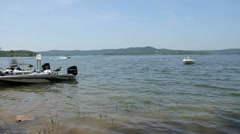 Boating at the lake Stock Footage