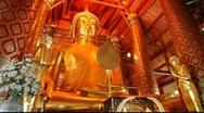 Buddha gold statue Ayuttaya Stock Footage