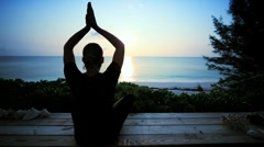 Sunrise Yoga on Paradise Island Stock Footage
