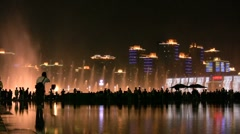 Shanghai skyline and water fountain at night - stock footage