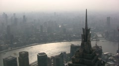 Shanghai skyline smog pollution river city urban China - stock footage