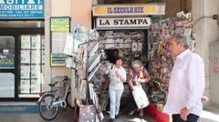 Savona Italy newspaper stamp stand P HD 0356 Stock Footage